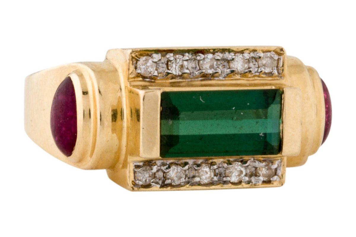 14k tourmaline and diamond band ring