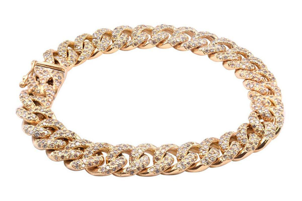 18 karat yellow gold diamond cuban link bracelet
