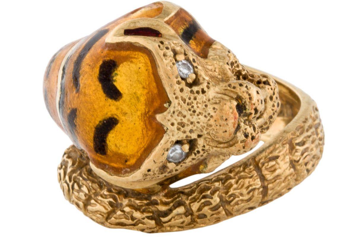 18k enamel and diamond tiger ring