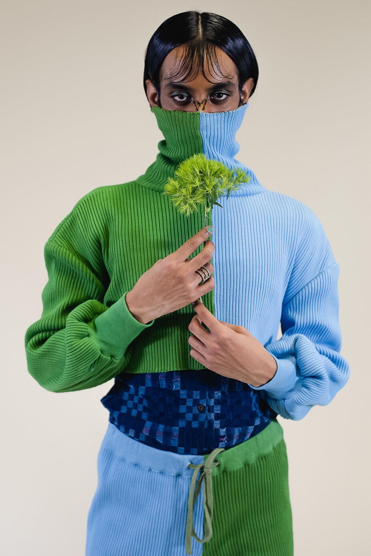 abacaxi 2 tone turtleneck sweater
