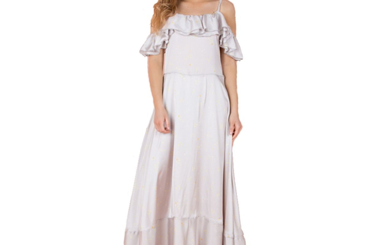 Long Stars Dress with Ruffles Under the Shoulders