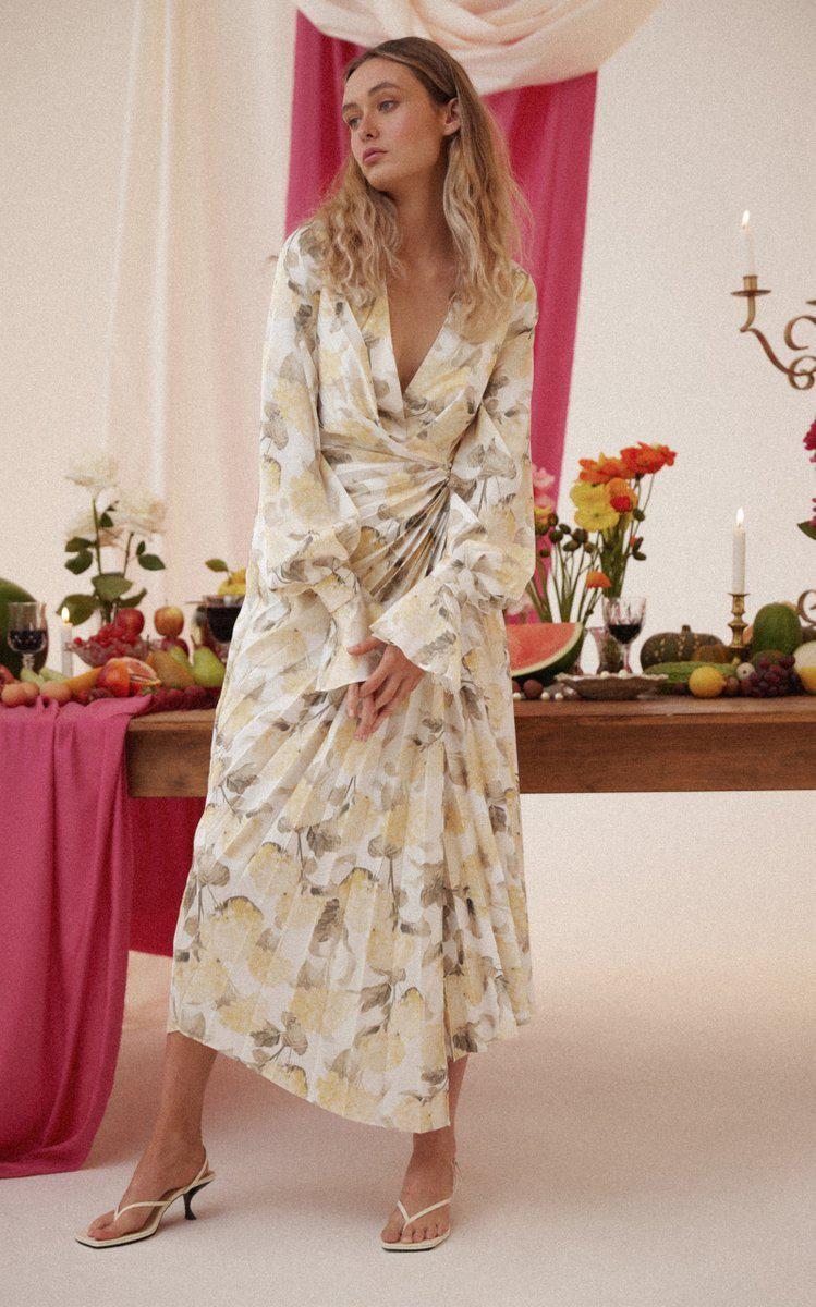 acler cresta floral print wrap midi dress