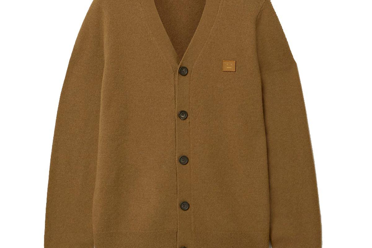 acne studios keve face appliqued wool cardigan