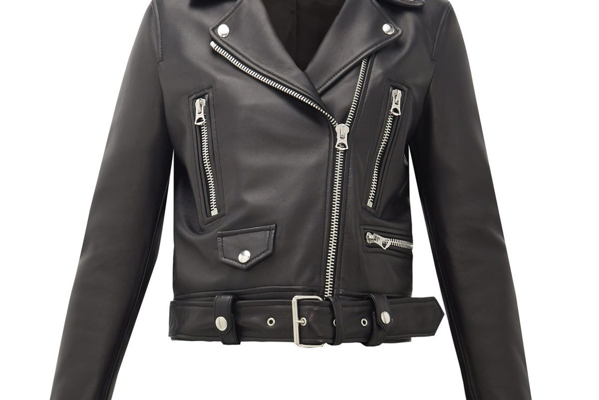 acne studios mock smooth leather biker jacket