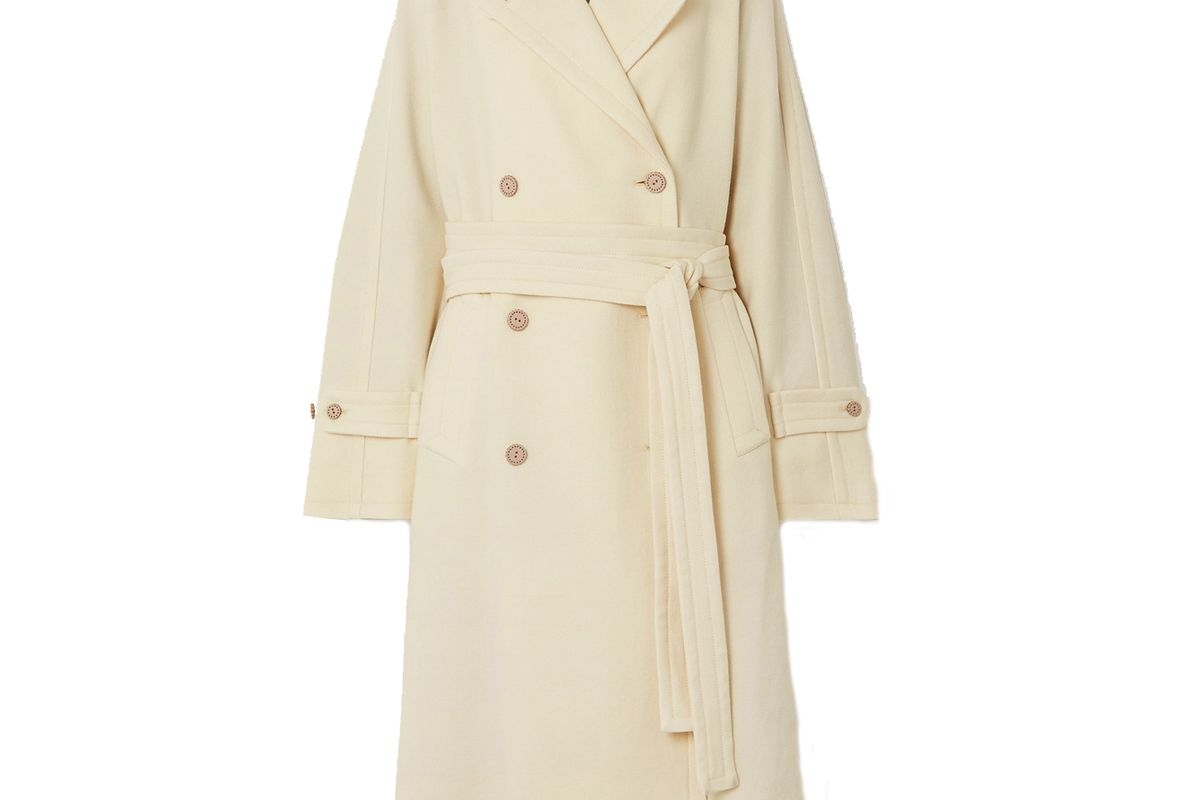 acne studios orane oversized belted double breasted wool twill coat