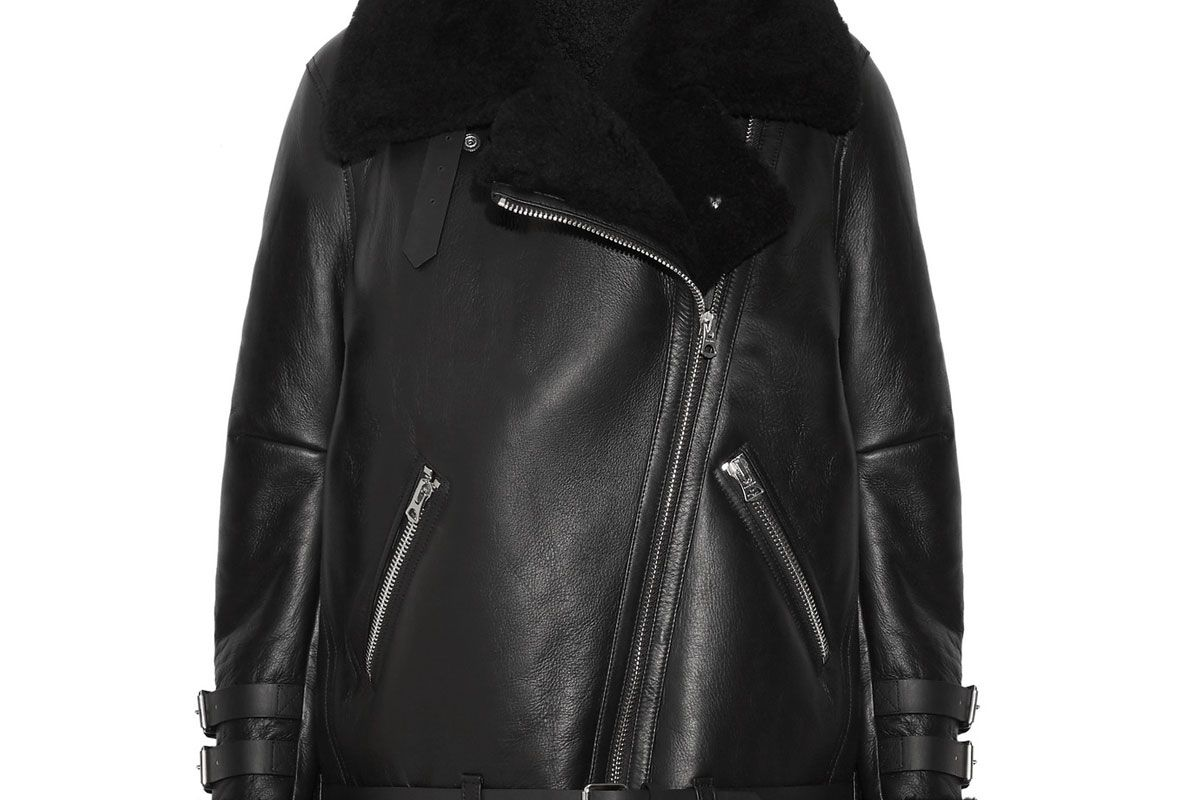 acne studios velocite shearling trimmed leather biker jacket