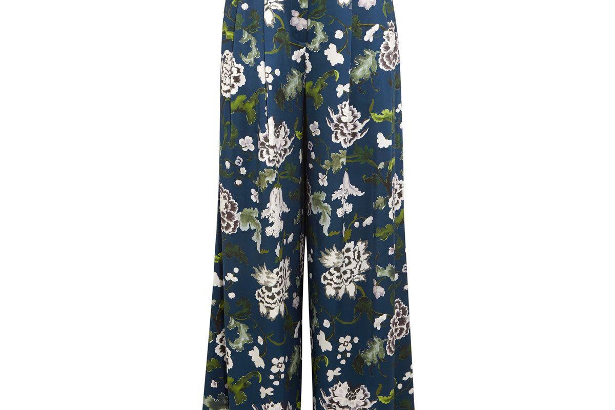 Floral-Print Silk-Charmeuse Wide-Leg Pants
