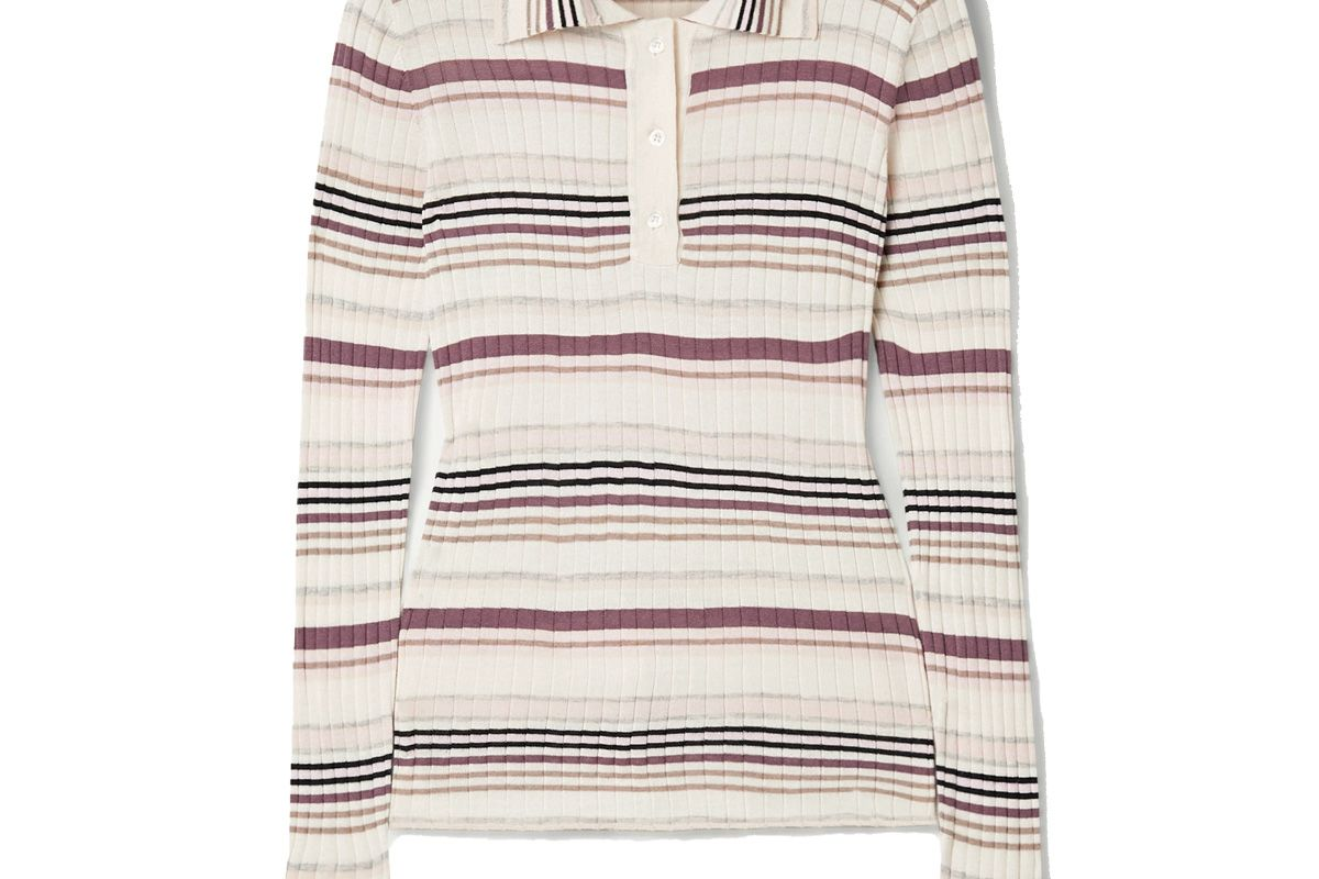 adam lippes striped ribbed silk and cashmere blend polo shirt