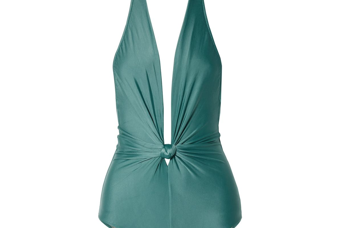 adriana degreas knotted halterneck swimsuit