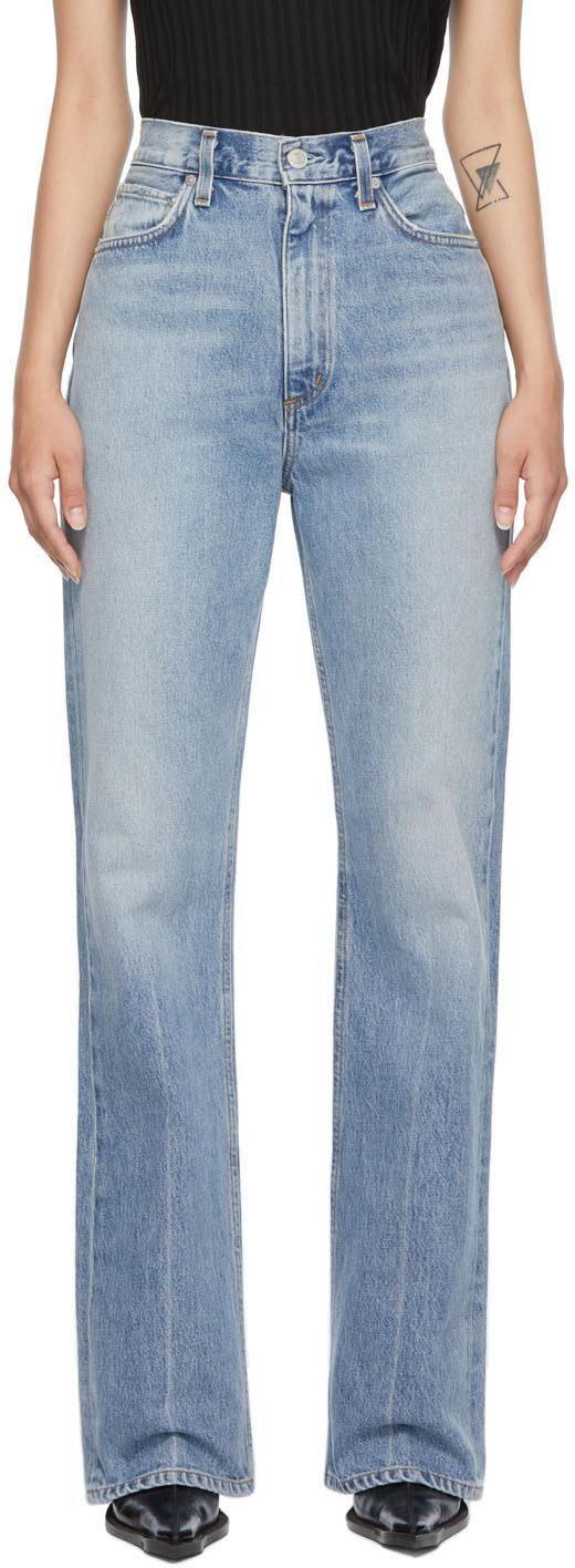 agolde blue vintage high rise flare jeans