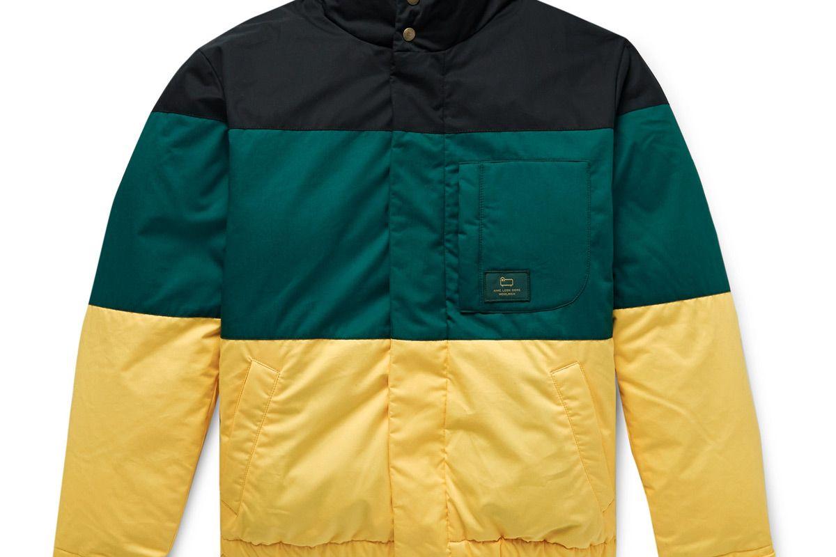 aime leon dore woolrich colour block cotton twill down jacket