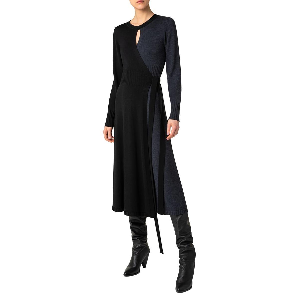akris punto two tone merino wool wrap midi dress