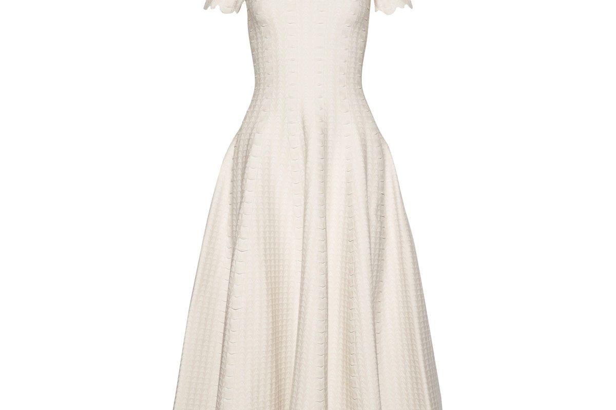 Scalloped Jacquard-Knit Midi Dress