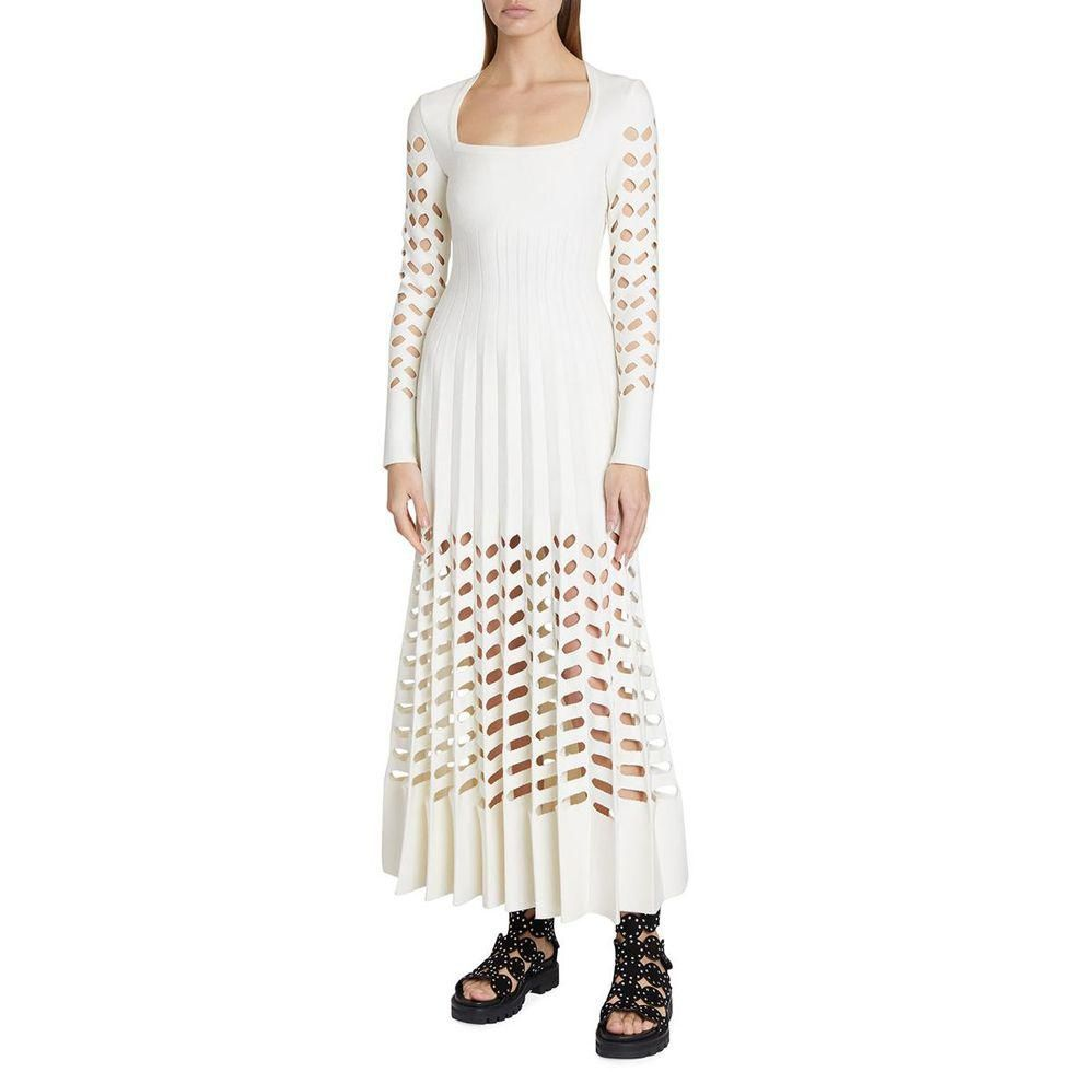 alaia square neck laser cut pleated maxi dress