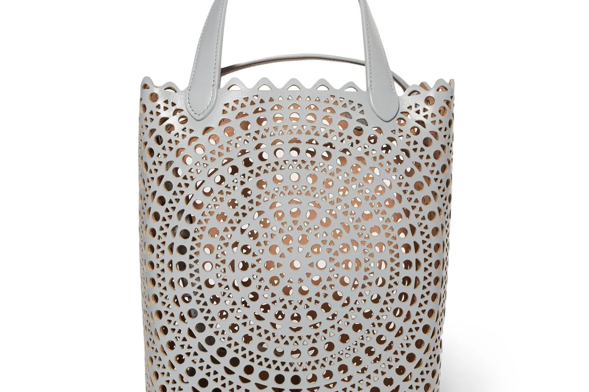 alaia vienne laser cut leather bucket bag