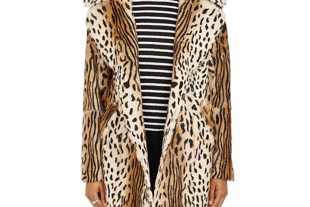 alc elera leopard print fur coat