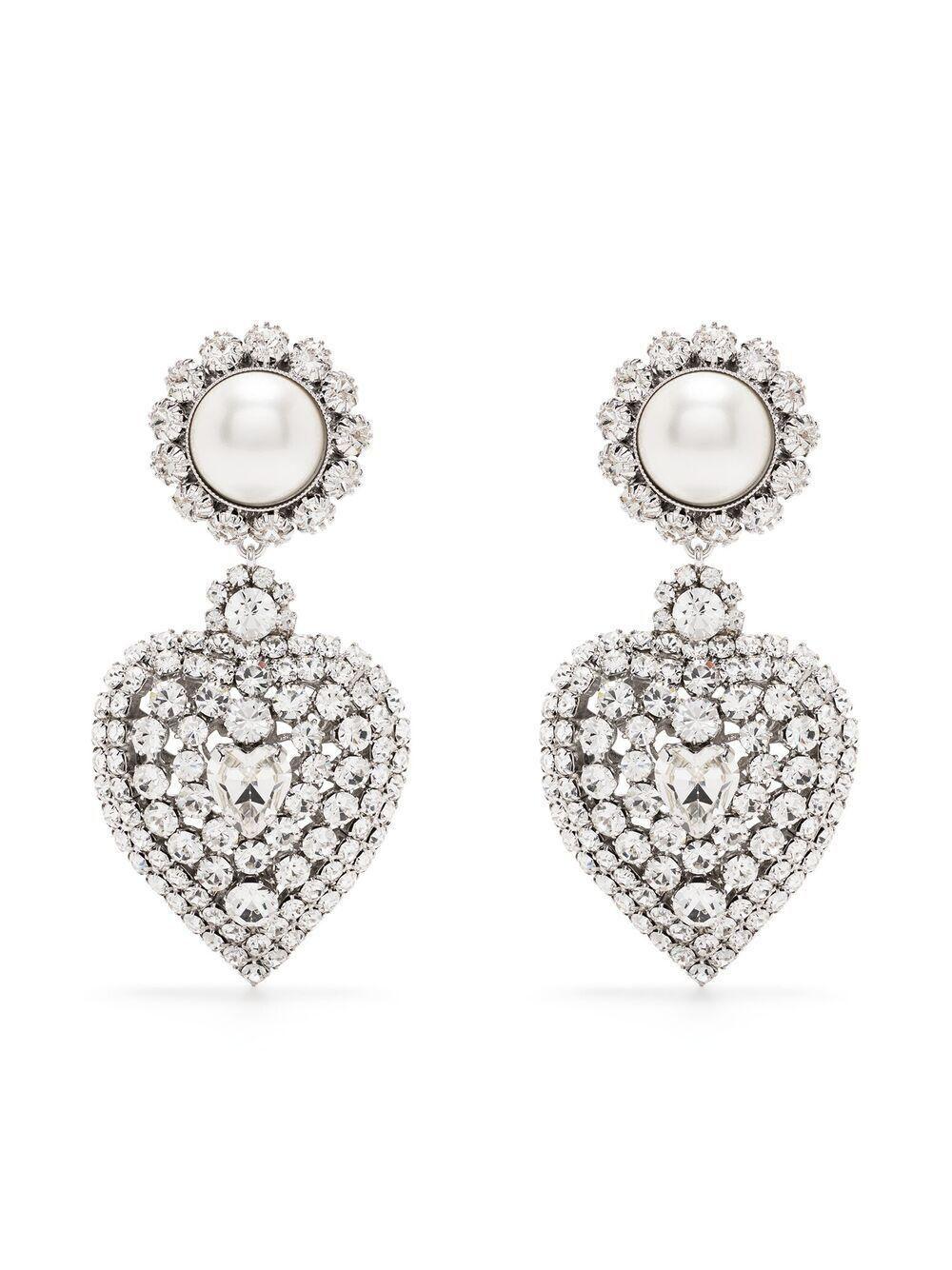 alessandra rich crystal embellished heart drop earrings