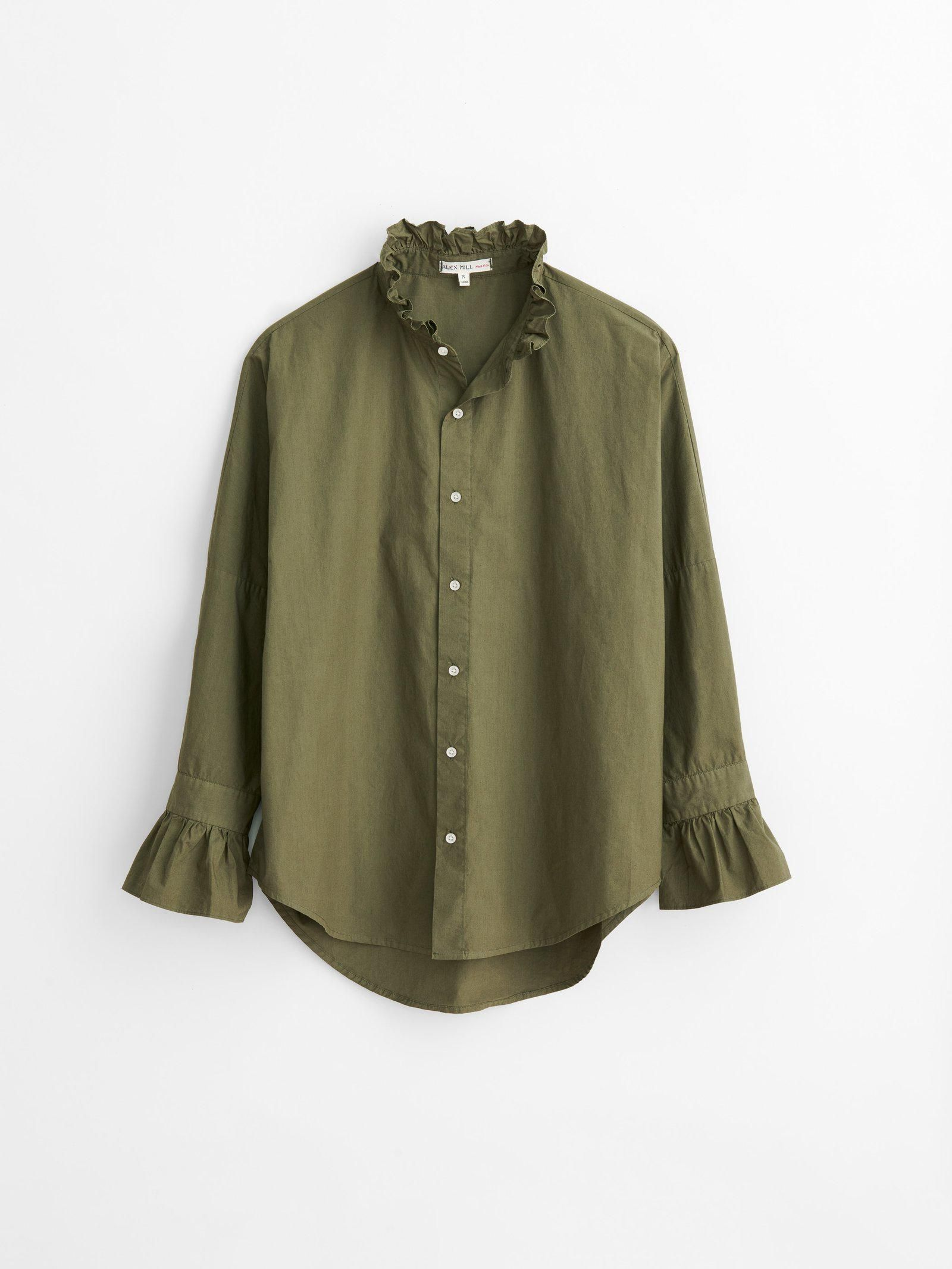 alex mill easy ruffle shirt in paper cotton