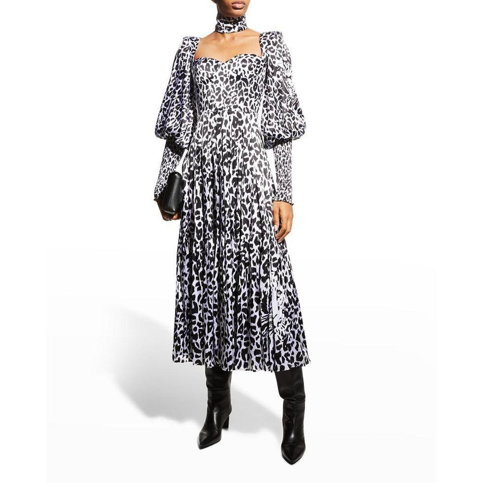 alex perry addilyn leopard print satin midi dress