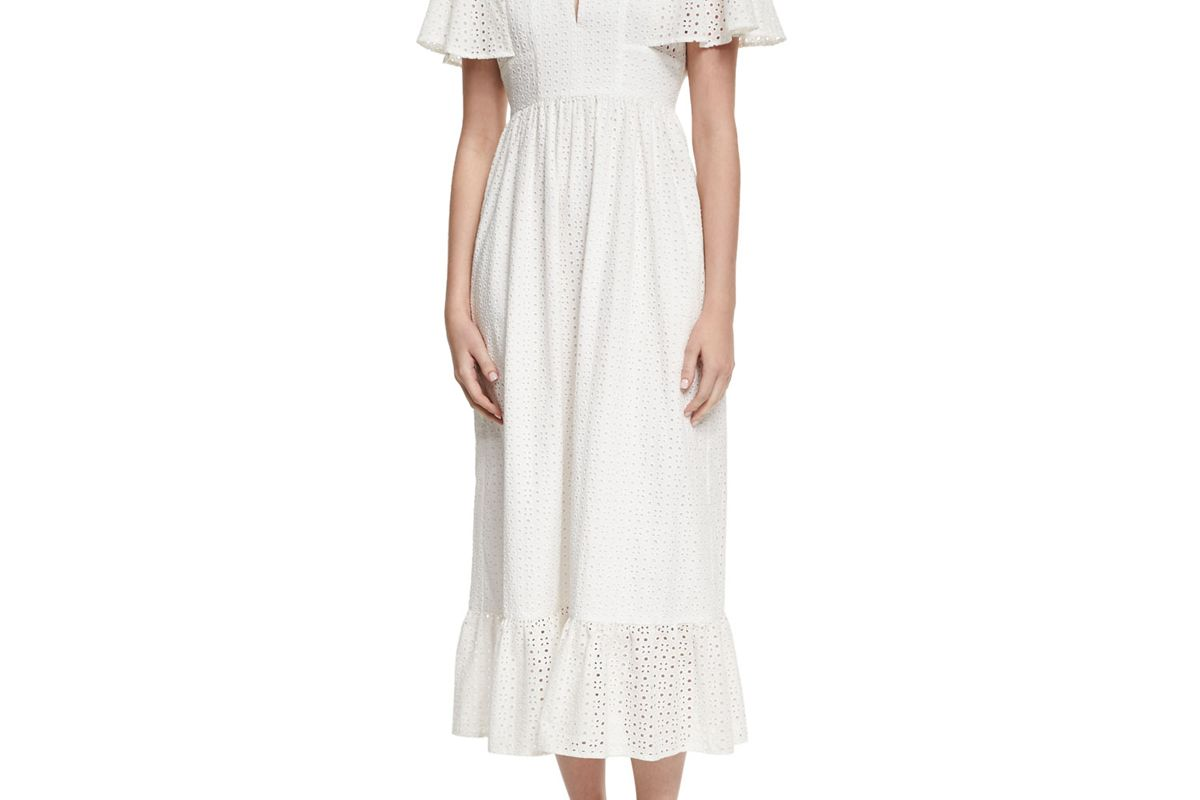 Frill Hem Eyelet Cape Dress