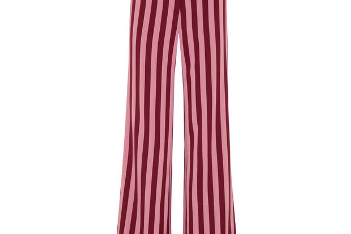 Striped crepe wide-leg pants