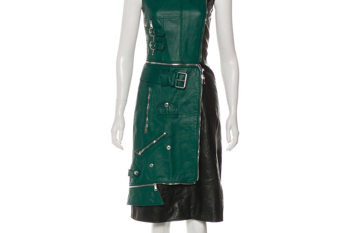 alexander mcqueen 2018 leather knee length dress