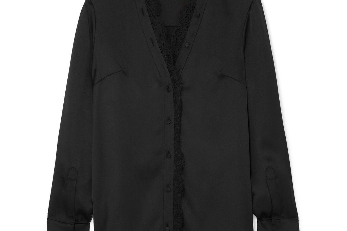 alexander mcqueen lace trimmed silk satin blouse