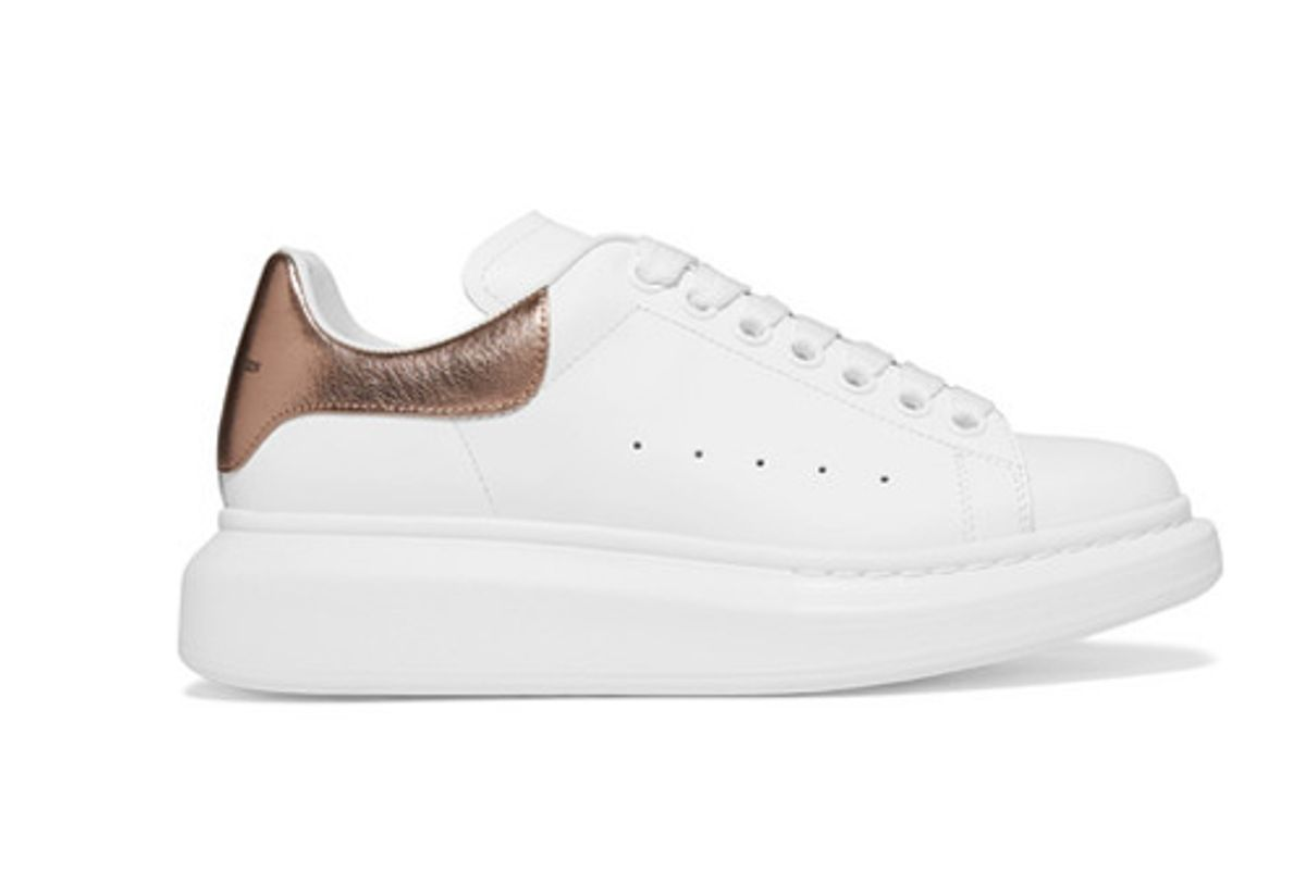 alexander mcqueen metallic trimmed leather exaggerated sole sneakers