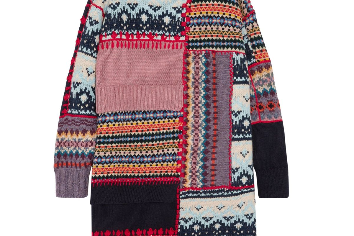 alexander mcqueen patchwork chunky knit wool blend dress