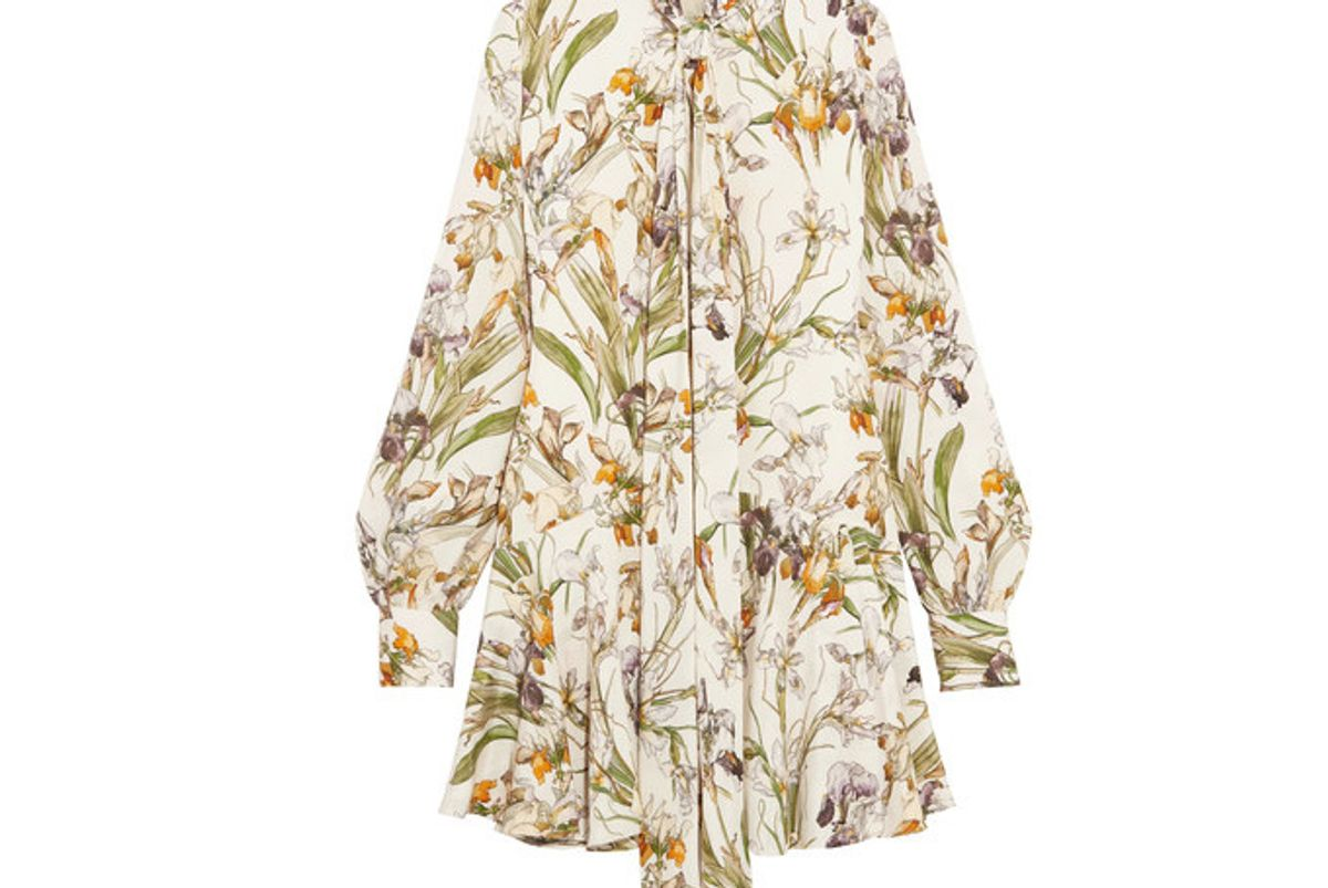 Pussy-bow Floral-print Silk Crepe de Chine Mini Dress