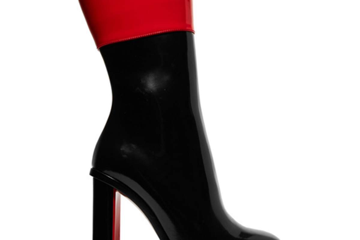 alexander mcqueen two tone glossed leather boots