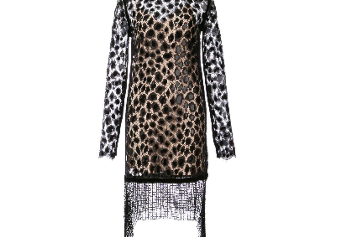 alexander wang leopard lace long sleeve dress