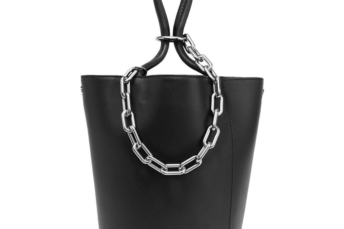 Roxy Chain-Embellished Leather Tote