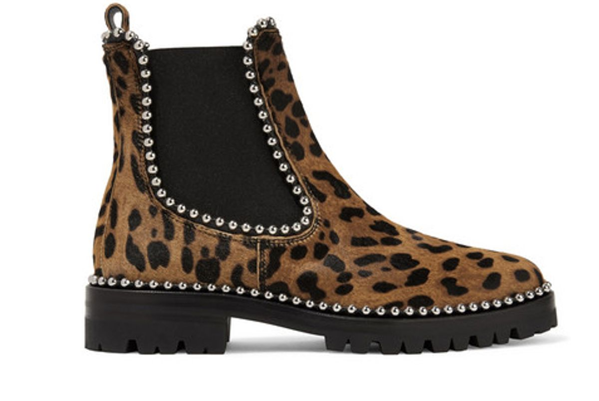 alexander wang spencer studded leopard print calf hair chelsea boots