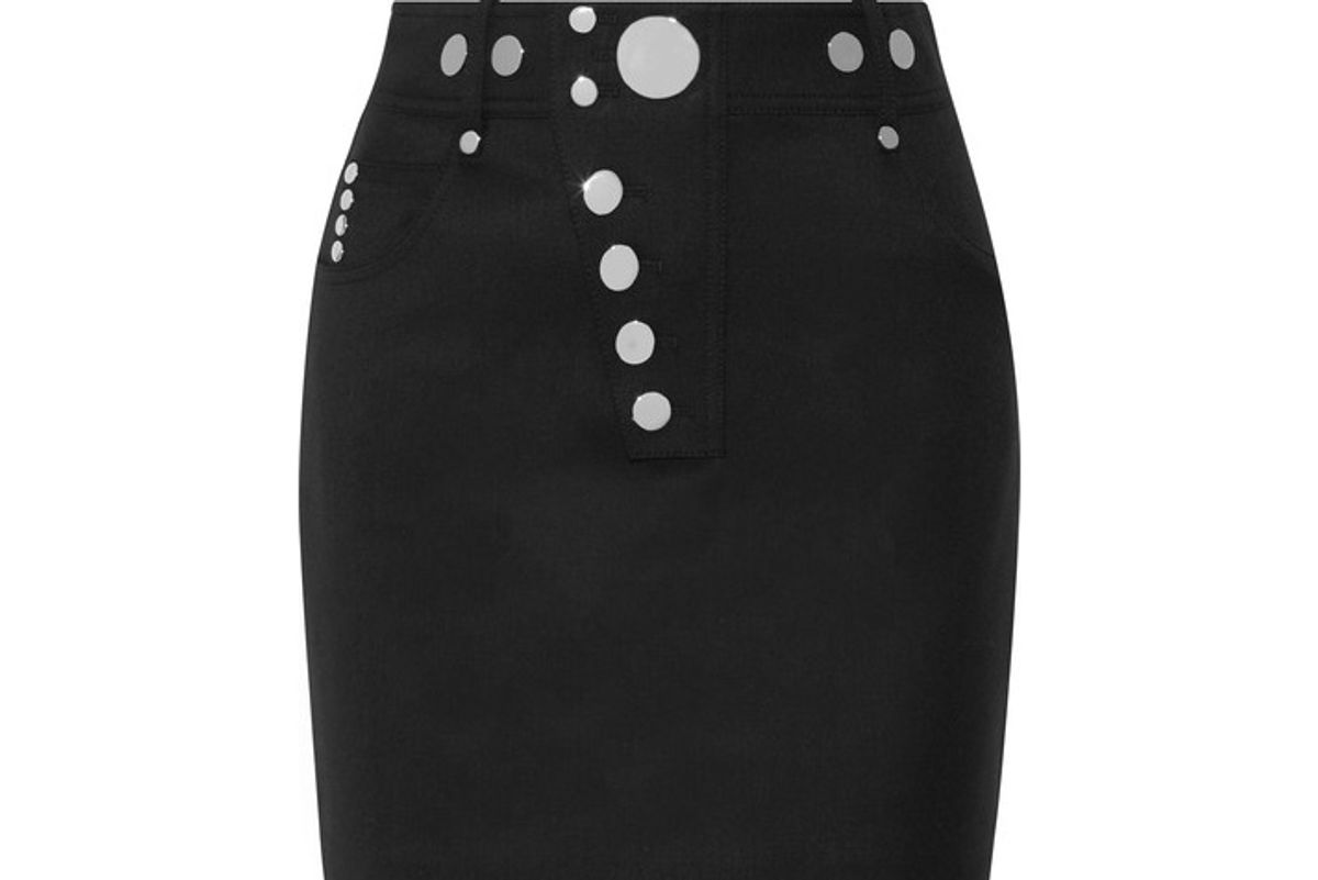 Studded Wool-blend Mini Skirt