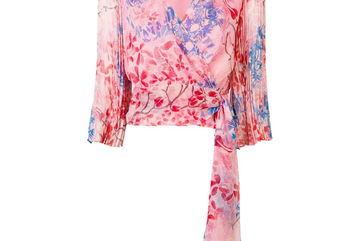 alice and olivia sash floral blouse