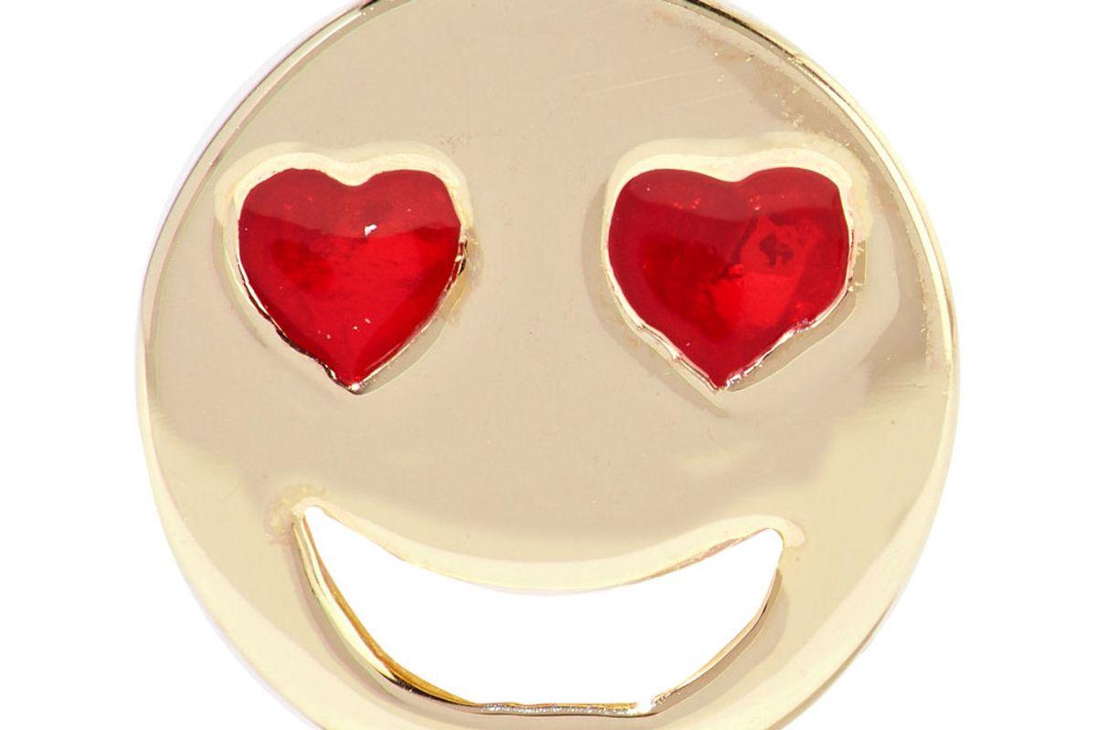 Lovestruck Enameled 14-Karat Gold Earring