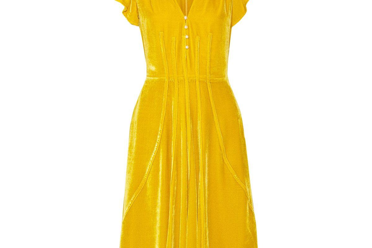 Camilla Faux Pearl-Embellished Velvet Dress