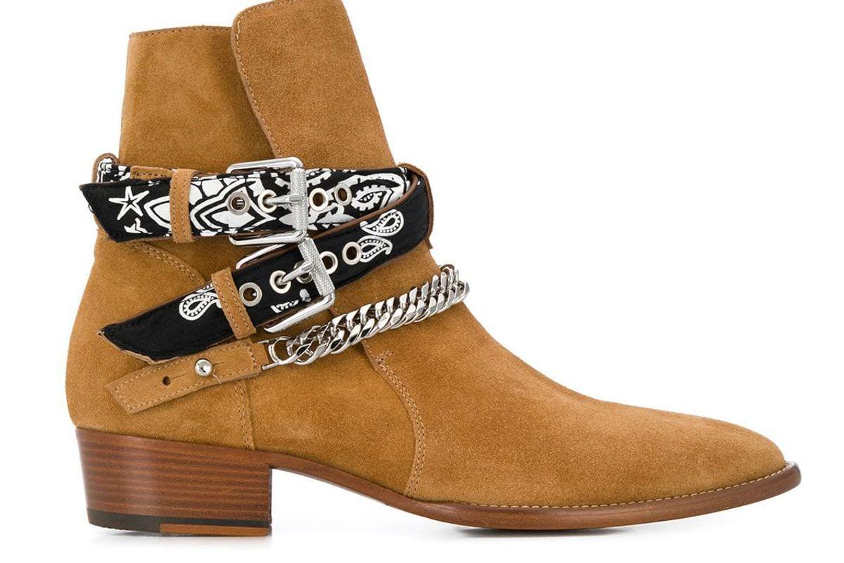 amiri scarf buckled boots