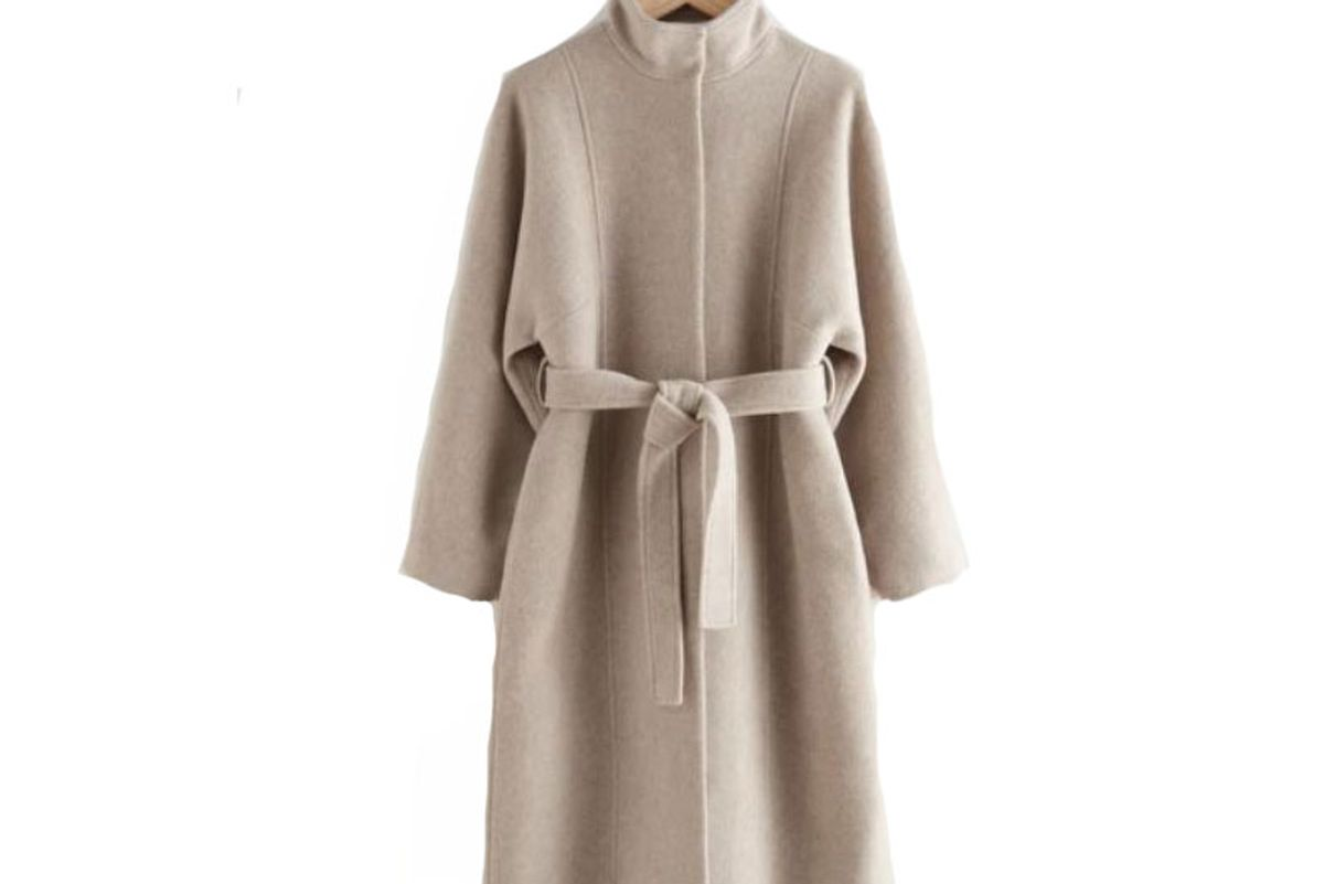 and other stories belted recycled wool coat