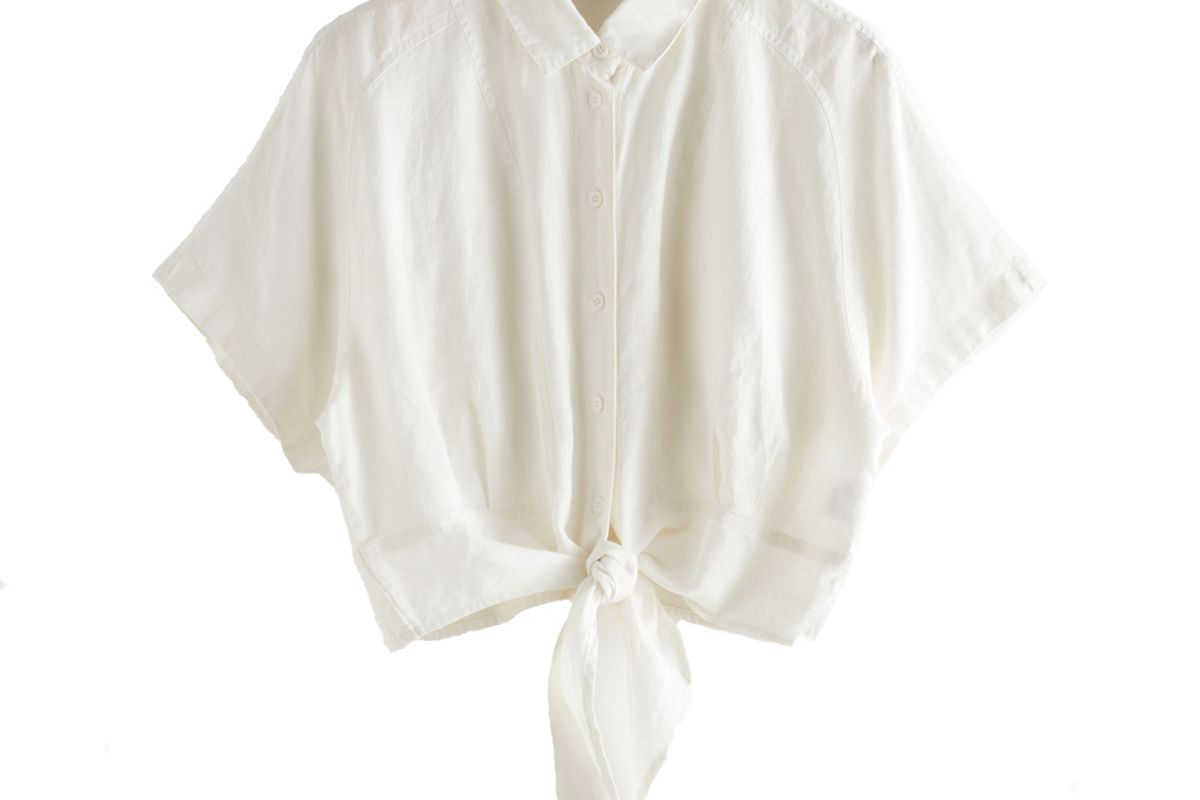 and other stories front tie linen blouse