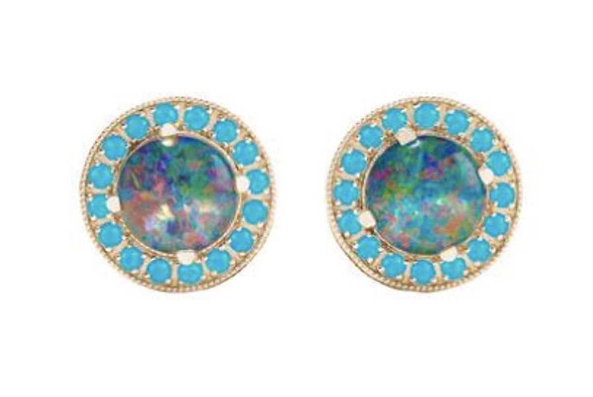andrea fohram austrialian opal doublet studs turquoise