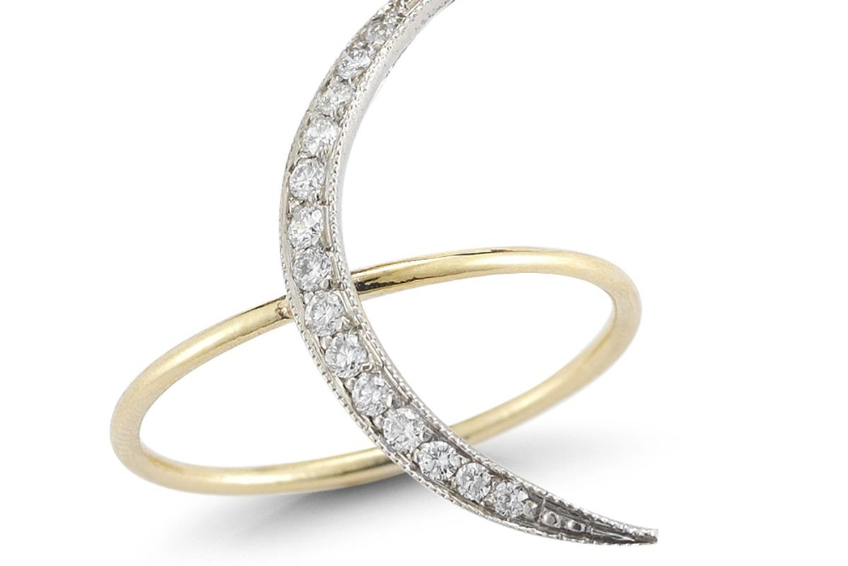 Sliver Crescent Moon Ring with White Diamonds