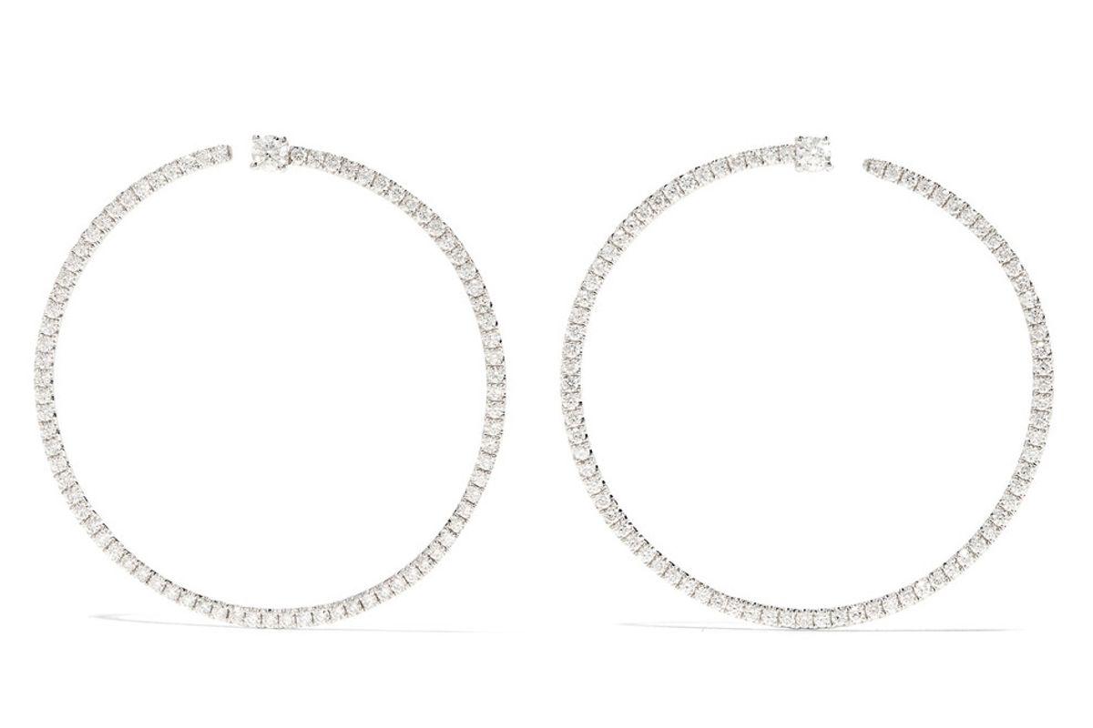 Bardot 18-Karat White Gold Diamond Hoop Earrings