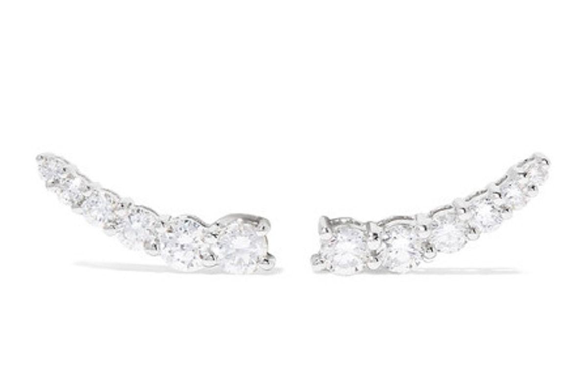 Floating 18-karat white gold diamond earrings