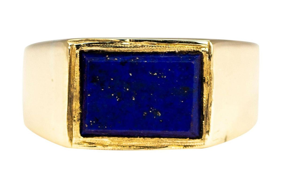antique lapis lazuli and 9 carat gold signet ring