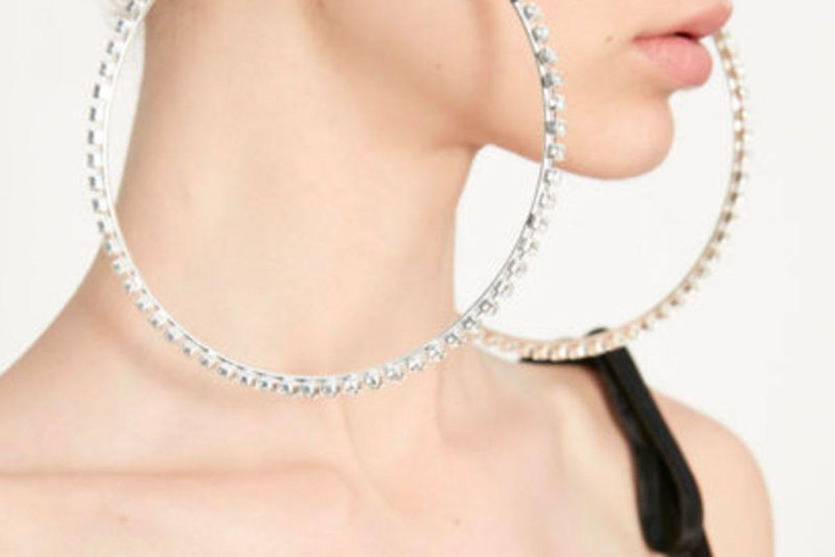 Swarosvki Crystal Rhinestone Oversized Hoop Earrings