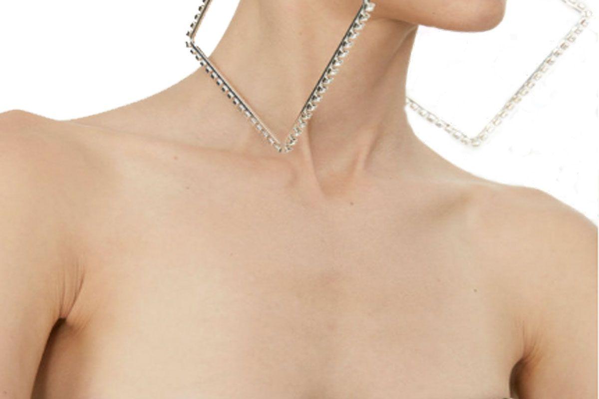 Swarovski Crystal Rhinestone Oversized Square Hoop Earrings