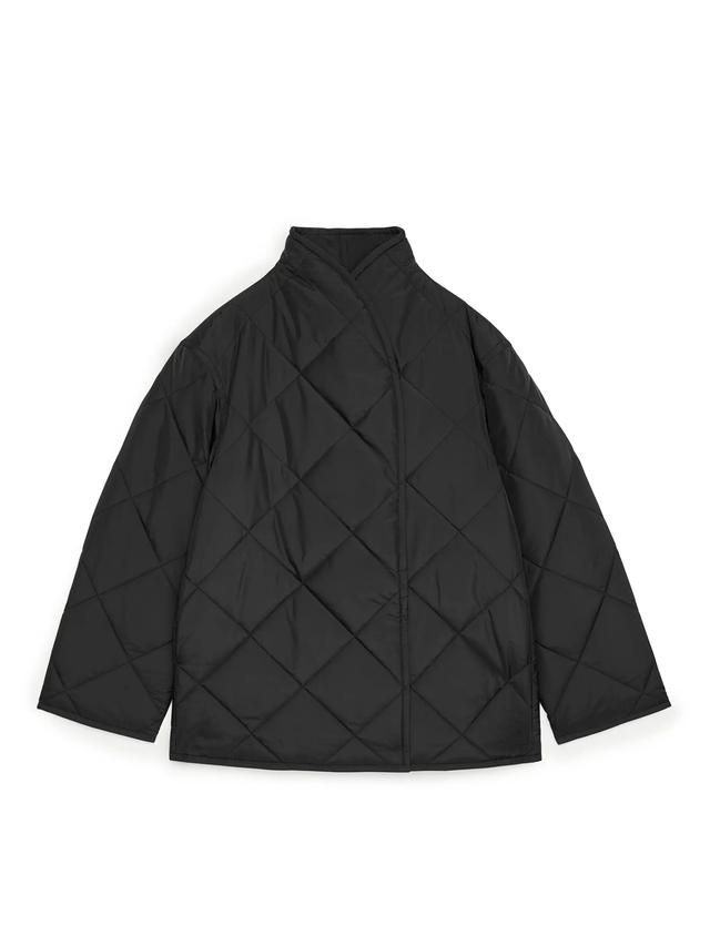 arket quilted shawl collar jacket