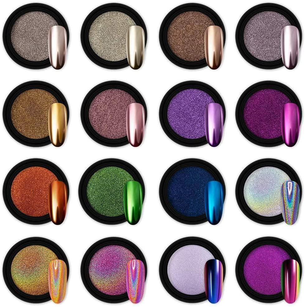 artdone 16 jars chrome nail powder metallic mirror effect